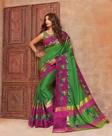 4f5fde4499 Admirable Green and Pink Color Cotton Silk Designer Saree - Mayura ...