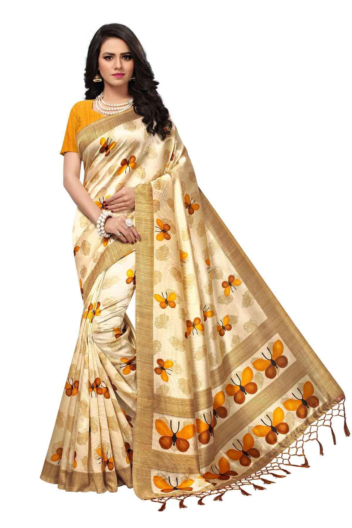 "MF Yellow Beige Kashmiri Silk saree with jalor laheriya  30"""