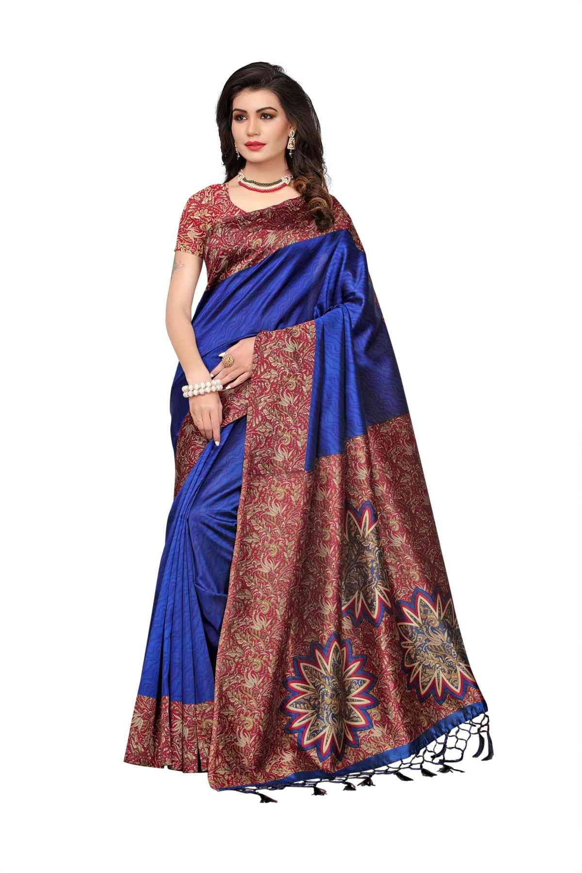 MF  Royal BlueBlack Kashmiri Silk saree   30""