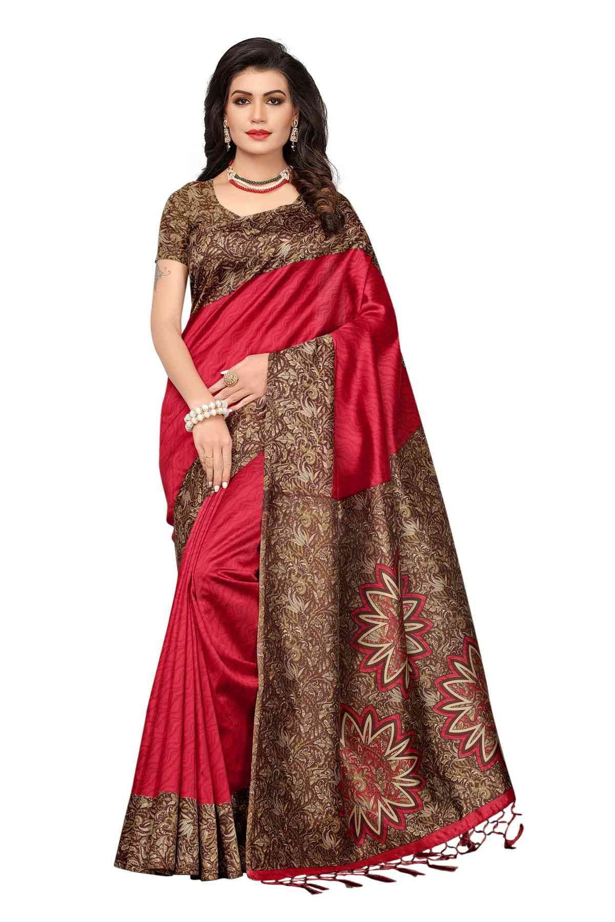 MF Designer Red n maroon Kashmiri Silk saree