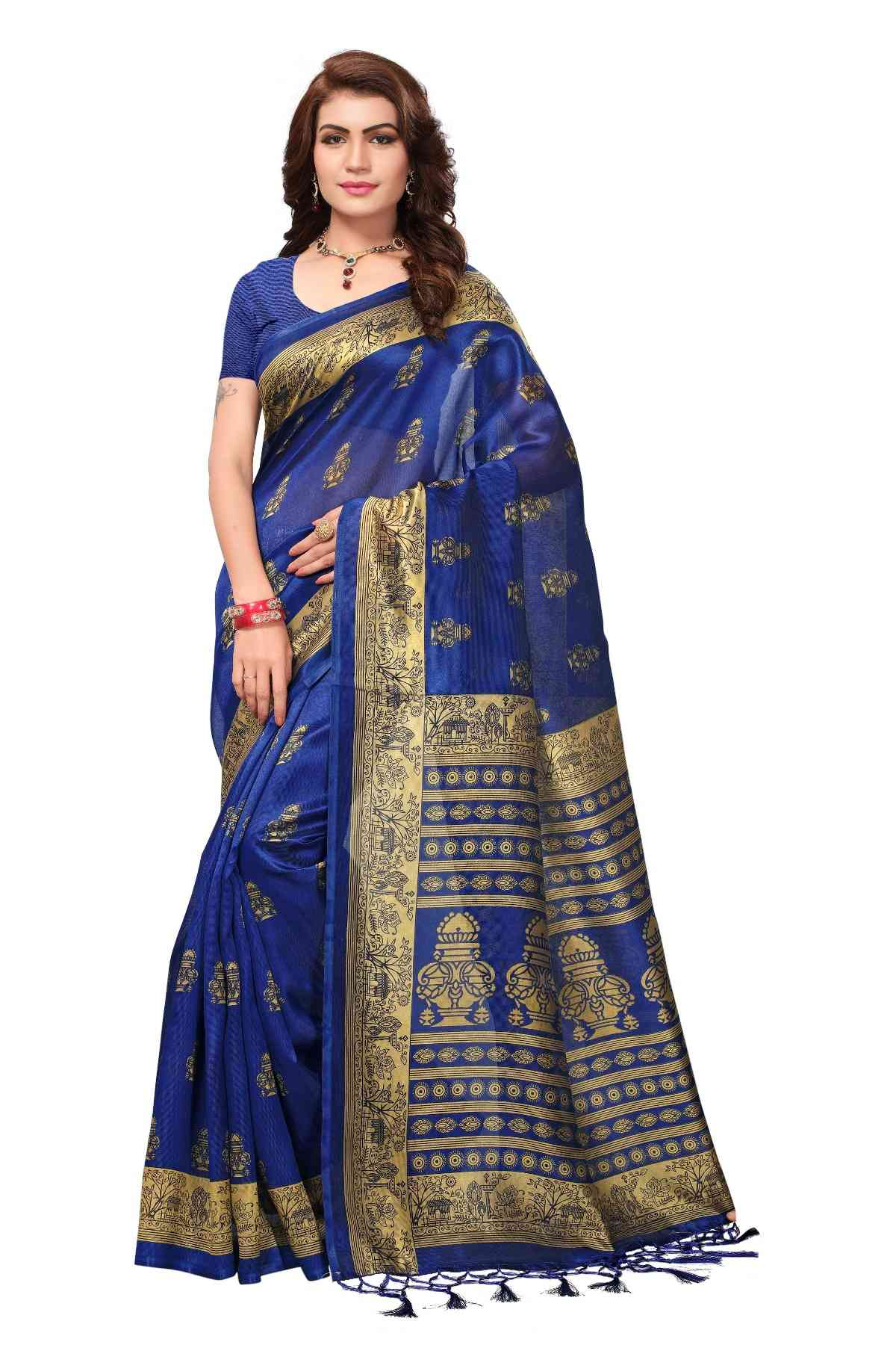 MF Royal Blue Kashmiri Silk saree