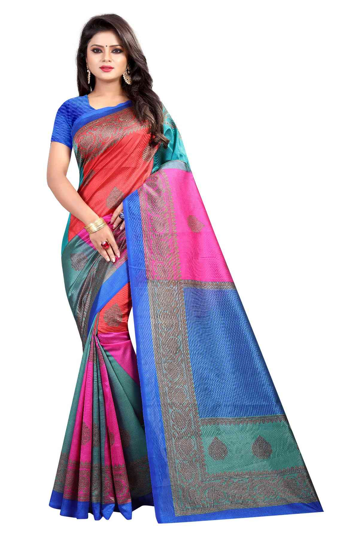 4 SQUARE BLUE Mysore Cotton Silk Sarees For Womens