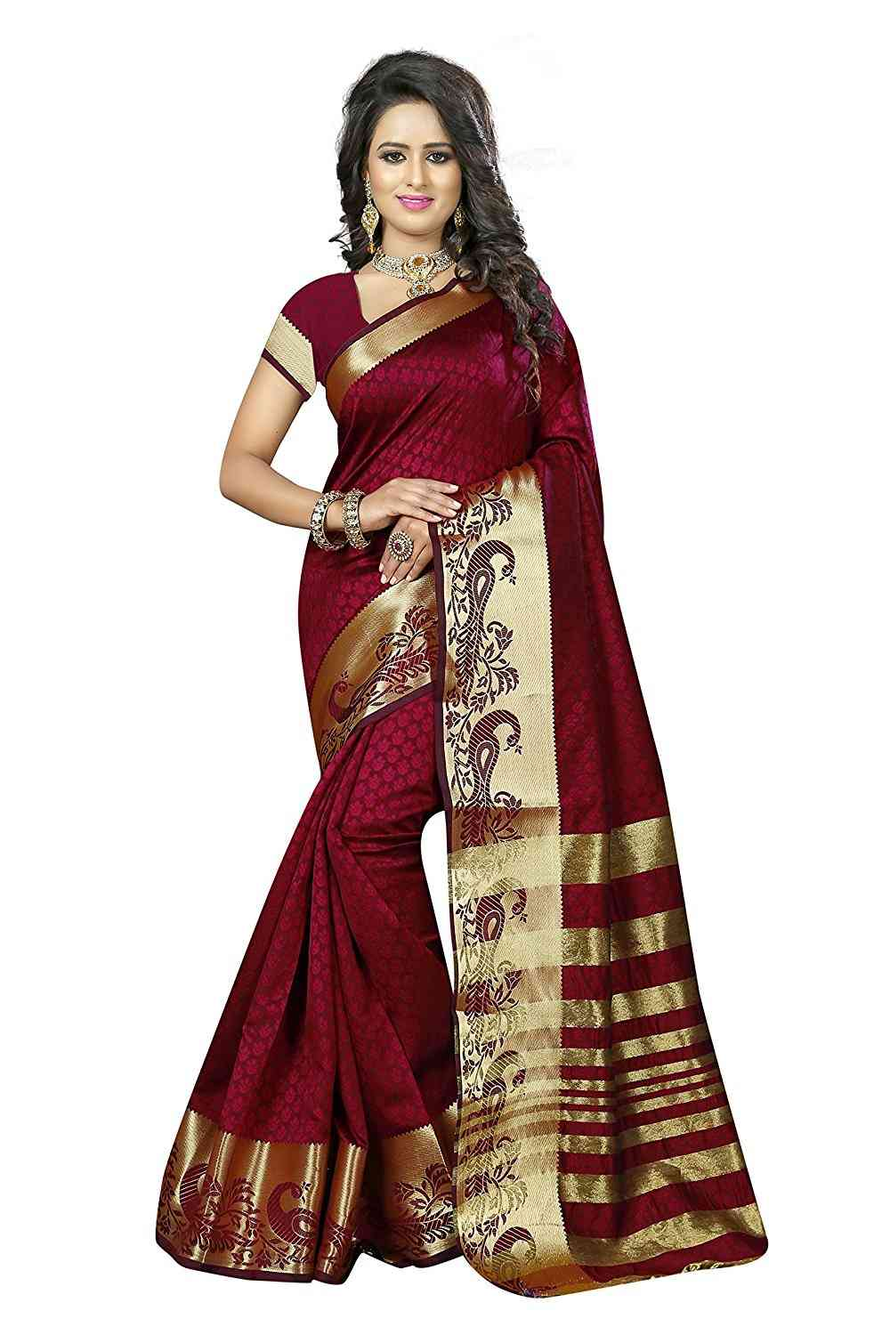 MF Maroon Jacquard Silk saree