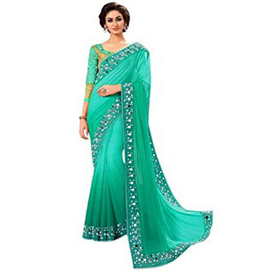 """MF Georgette Havy Embroidered Saree with Havy Mirror hand work Blouse and Lace  30"""""""