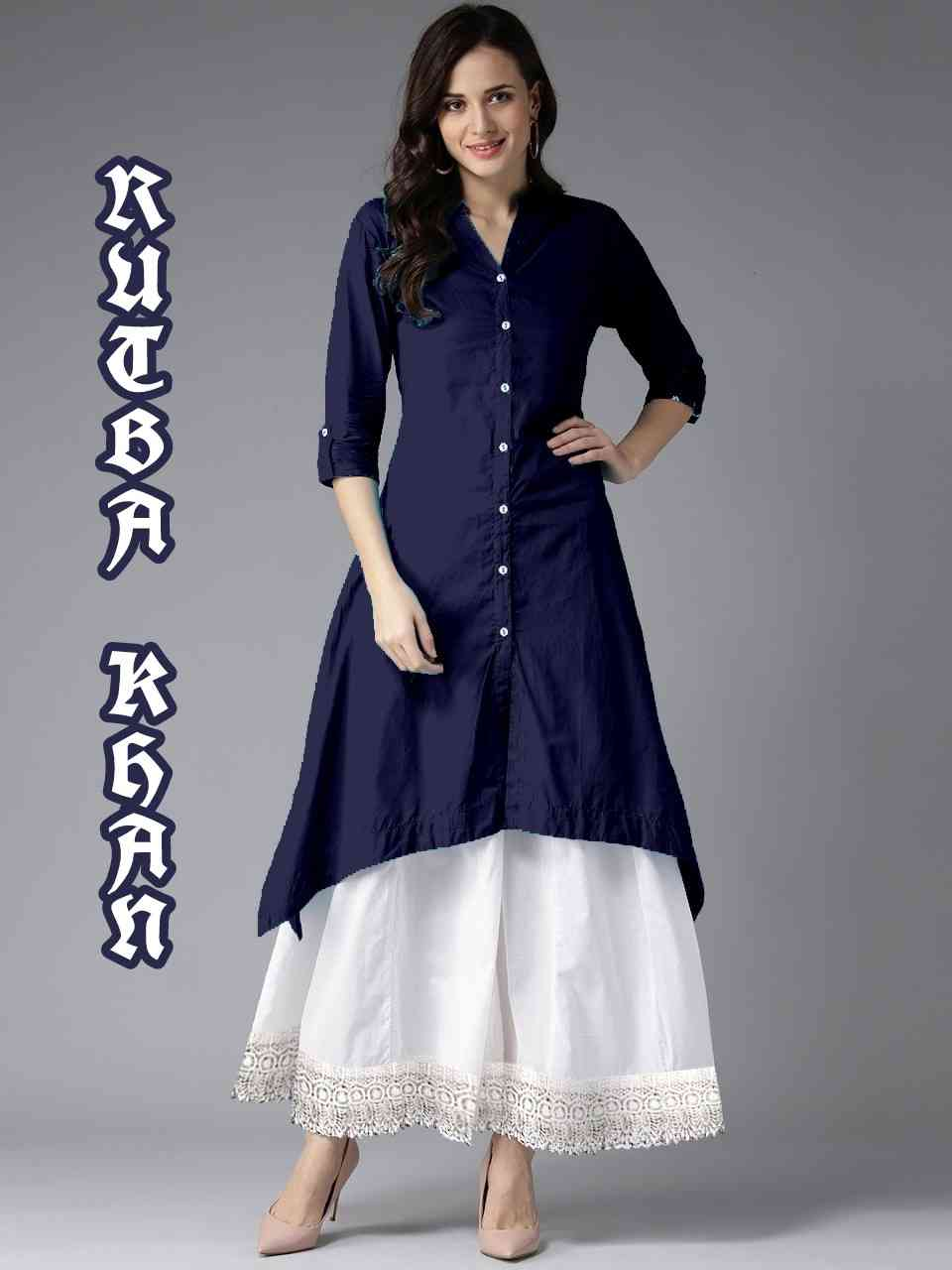 MastaniFab Royal Blue Rayon Kurti With White Plazoo
