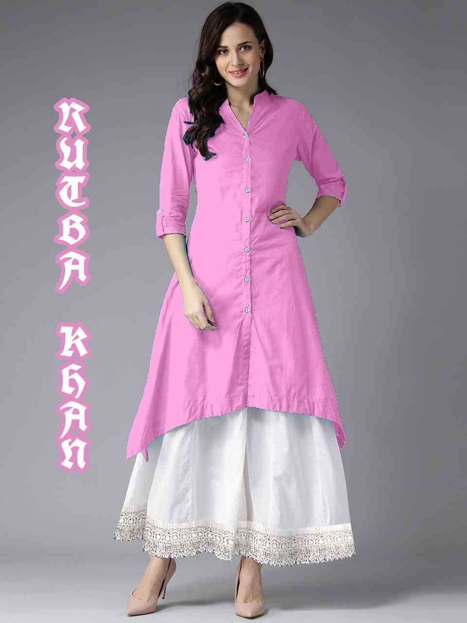 MastaniFab Pink Rayon Kurti With White Plazoo