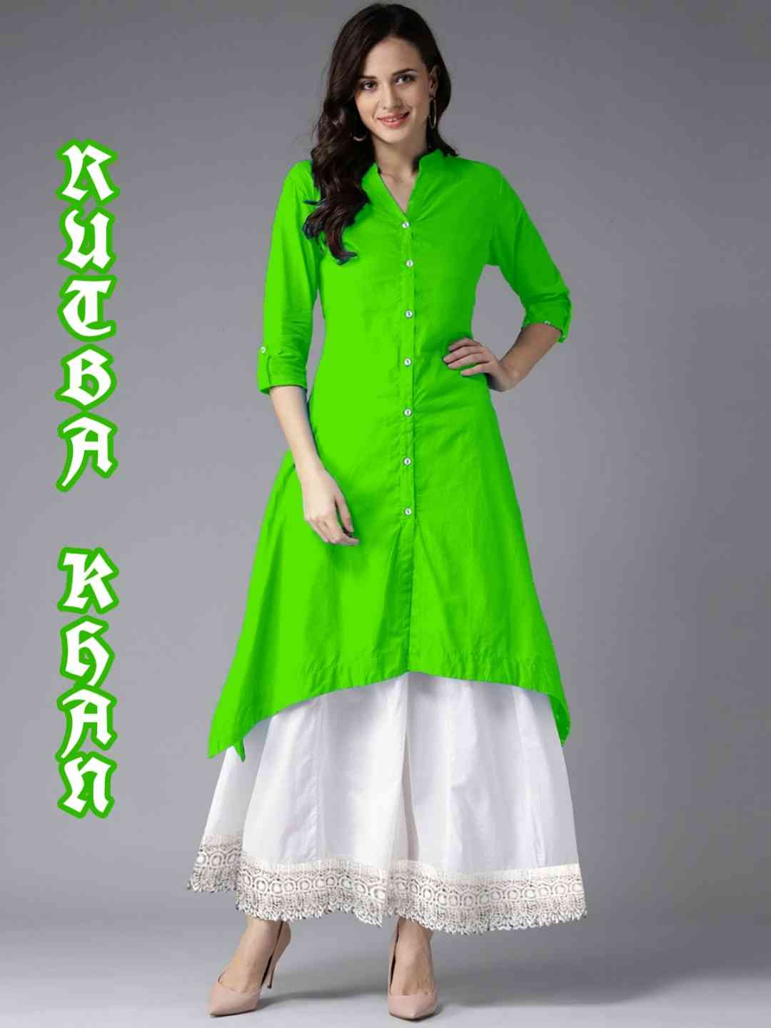 MastaniFab Green Rayon Kurti With White Plazoo