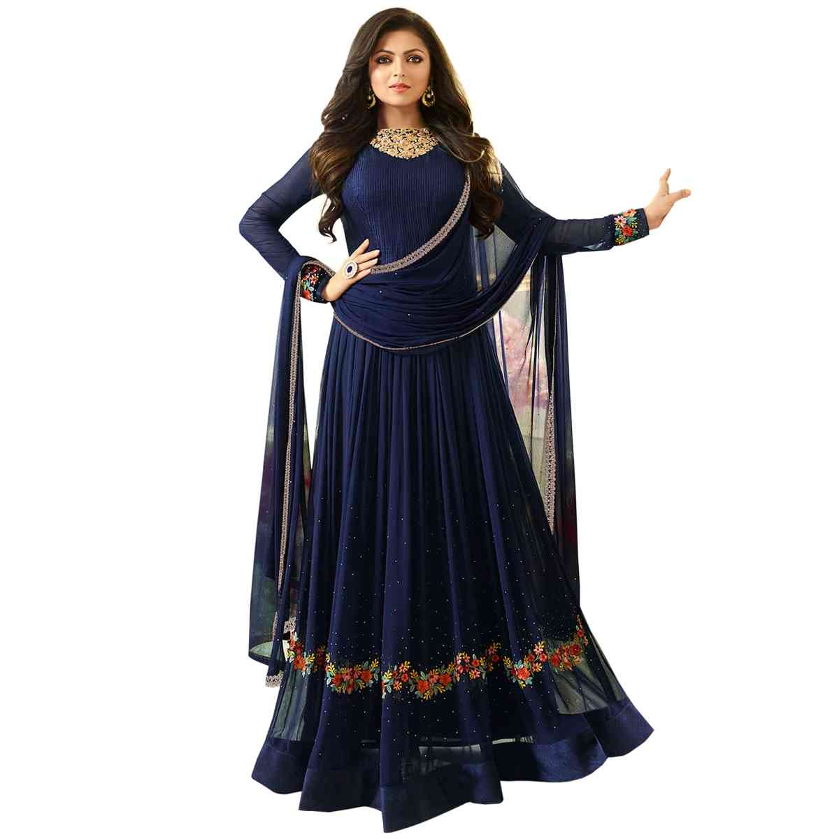 MF BLUE EMBROIDERED GEORGETTE SALWAR SEMI STITCHED