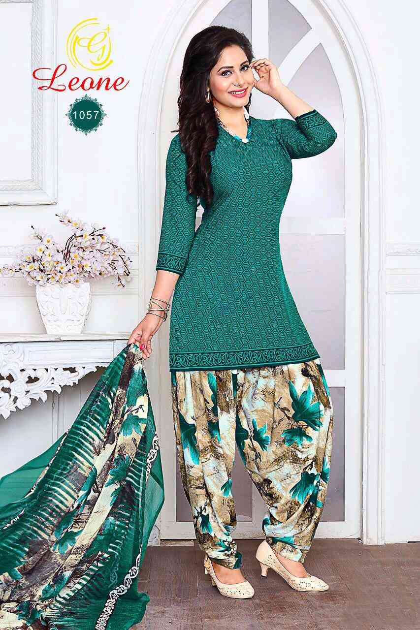 French Crepe Cotton Printed Dress Materials with Top salwar and Dupatta