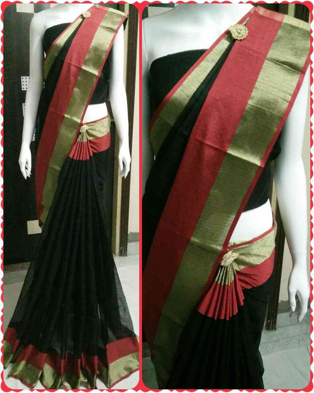 Black With Golden Red Patrywear Kotadoriya Art Silk Manipuri Saree for Womens