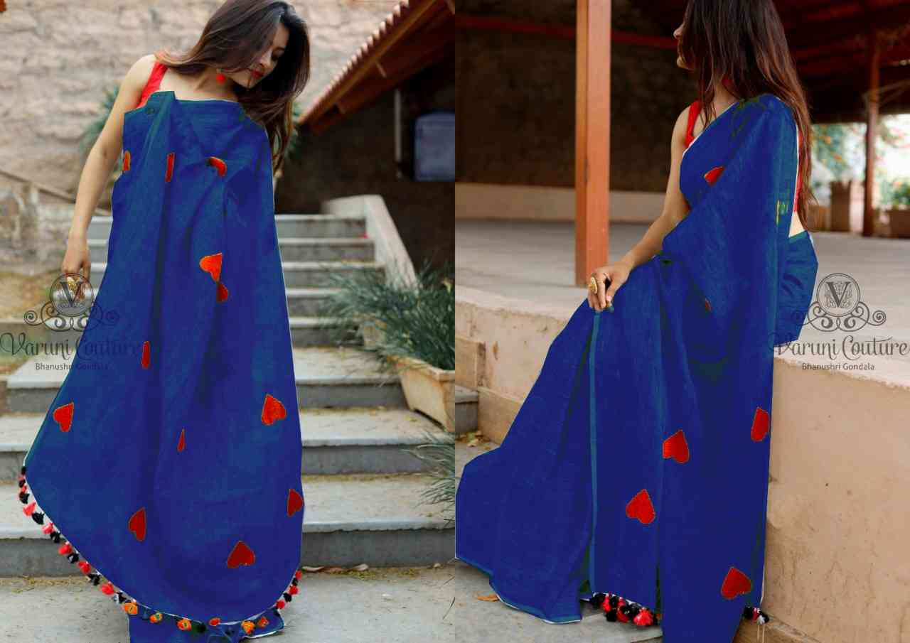 Mastani Fab Blue Designer Chanderi Cotton Saree