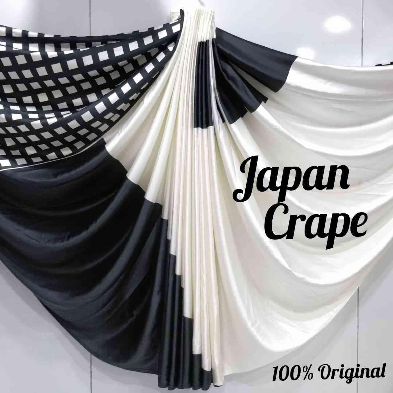 MF Fantastic Desiner Black n White Japan Crape saree