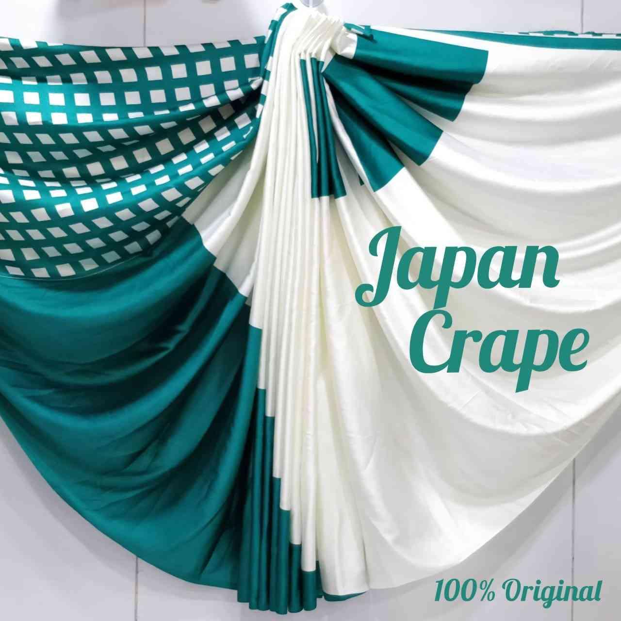 "MF Dreamy Desiner Rama n White Japan Crape saree  30"""