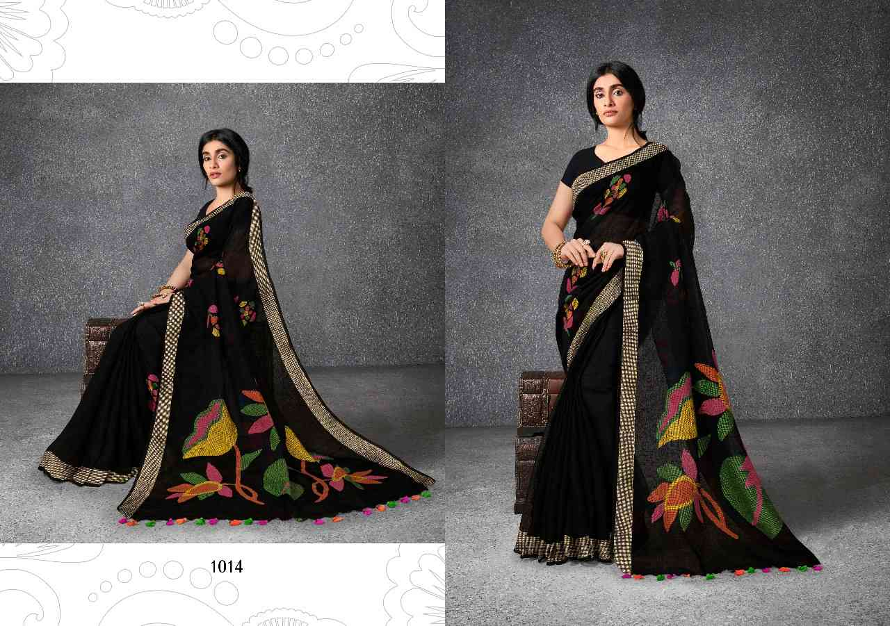 KHADILILEN1 Grey and Black Khadi Lilen Silk Sarees