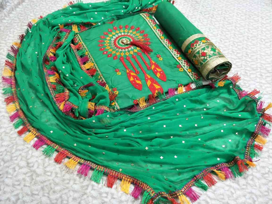 MF Cotton Dress MaterialsEmbroidred Work with Fancy Emboss Dupatta