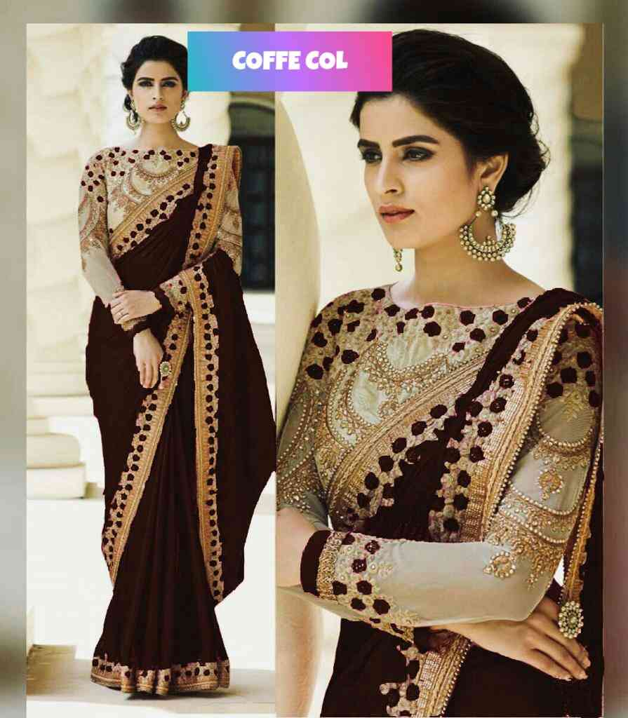 LFBROWN Party Wear Rangoli silk saree with embroidery cut work less  DIAMOND