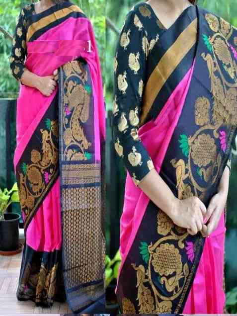 Latest Trends Desinger Pink and Blue Silk Sarees MF106