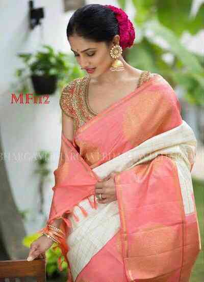 Peach And Off White Color Cheks Design Silk Blend Traditional Saree For WomensMF112