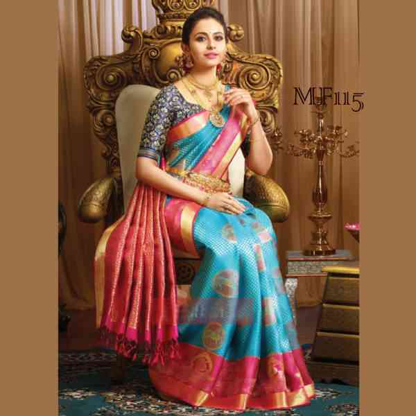 860c06108e Sky And Blue Color Ox Cart Peacock Design Silk Blend Traditional Saree with tussal  Pallue mst