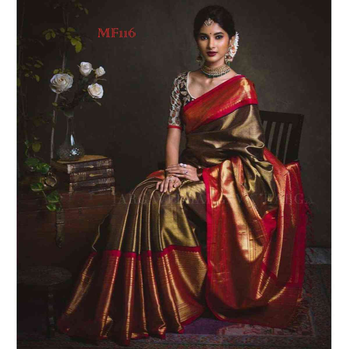 Dark Silver And Cream Color Designer Silk Blend Traditional Saree with tussal PallueMF116