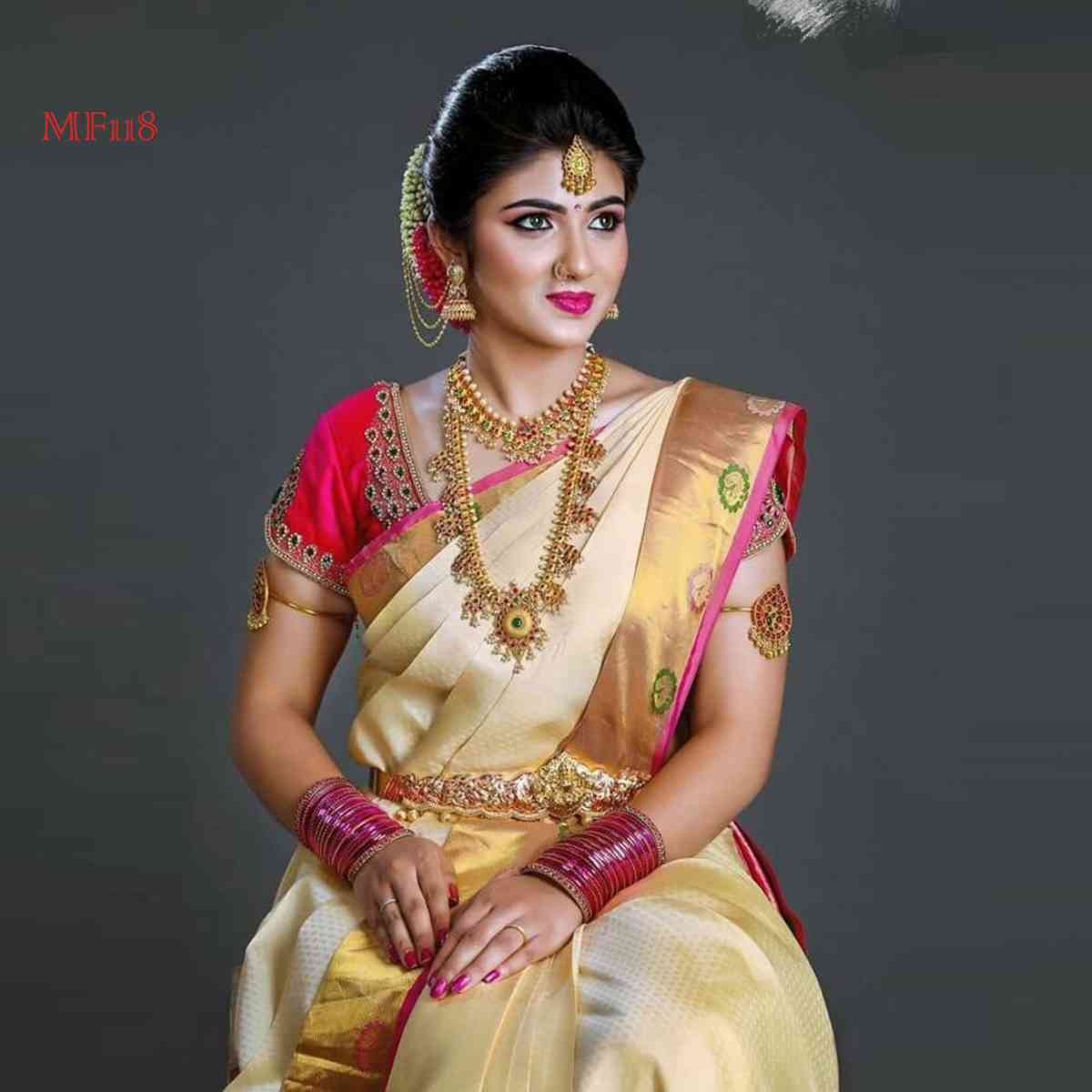 Beige And Pink Color Designer Silk Blend Traditional Saree with tussal Pallue