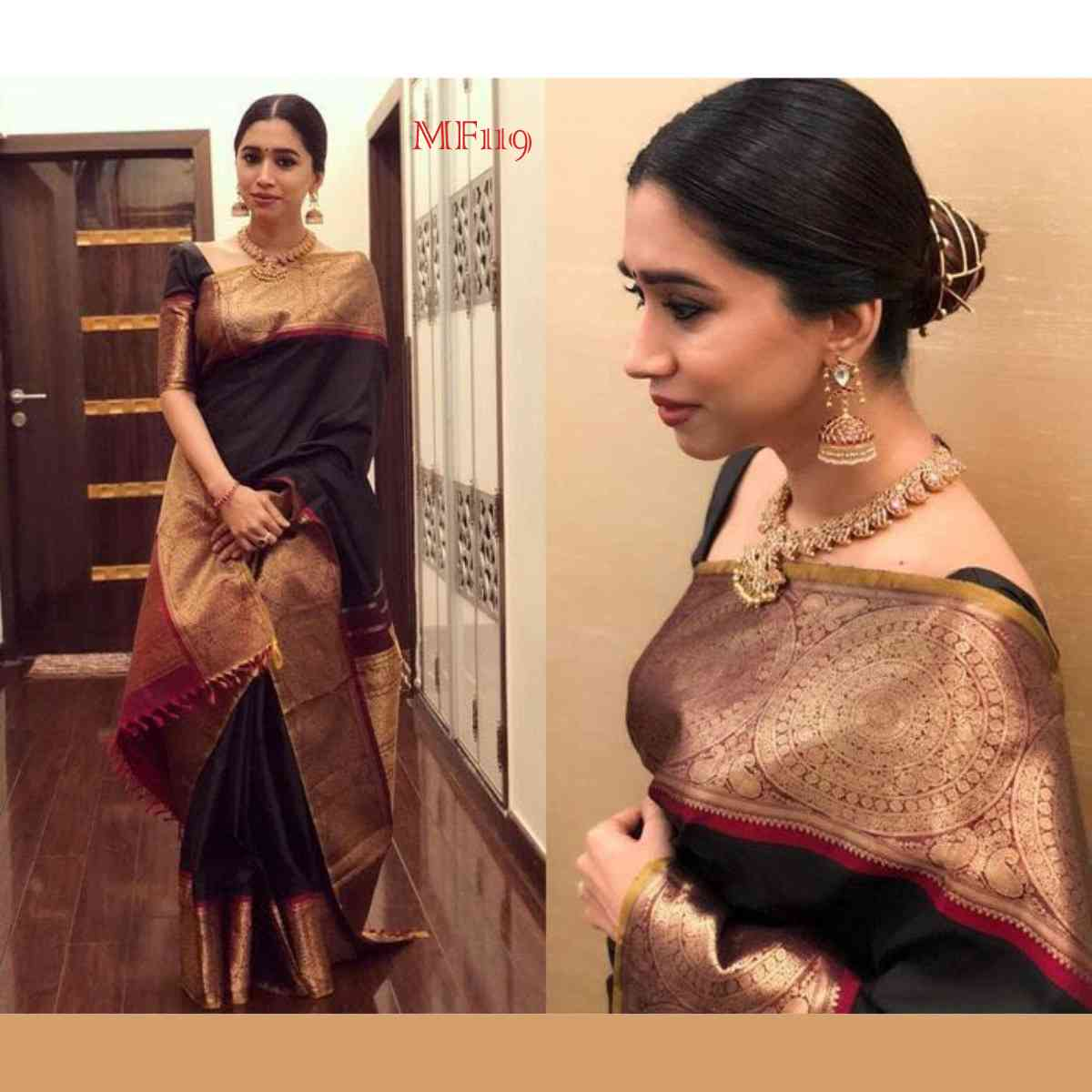 Black And Gold Color Designer Silk Blend Traditional Saree For Womens  30""