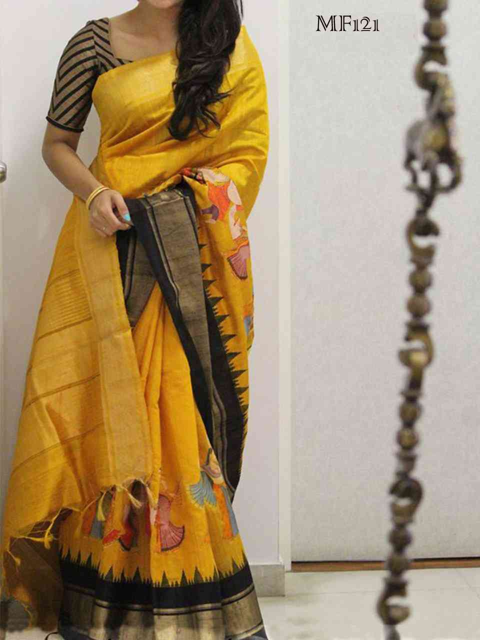 Yellow Color Silk Digital Printed Embellished Designer Saree MF121