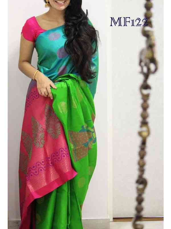 Green And Pink Color Havy Designer Silk Blend Traditional Saree For Womens mst