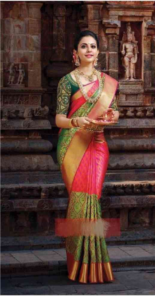 """Green And Pink Color Peacock Design Silk Blend Traditional Saree For Womens  30"""""""