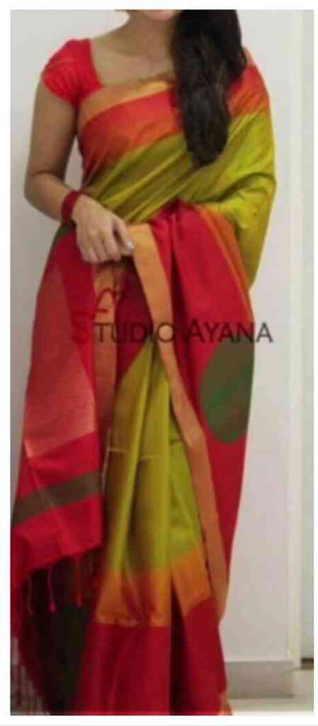 """Green And Pink Color Design Silk Blend Traditional Saree MF144  30"""""""