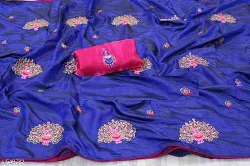 MF Havy Embroidred Paper silk  Saree   30""