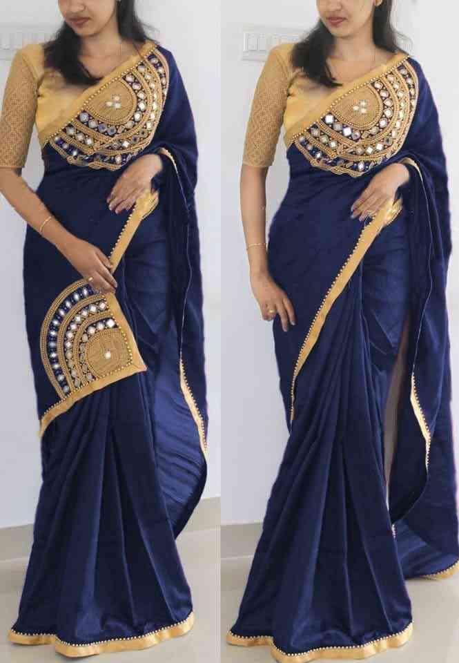 "MF Paper Silk Embroidered Saree with Havy Mirror hand work   30"""
