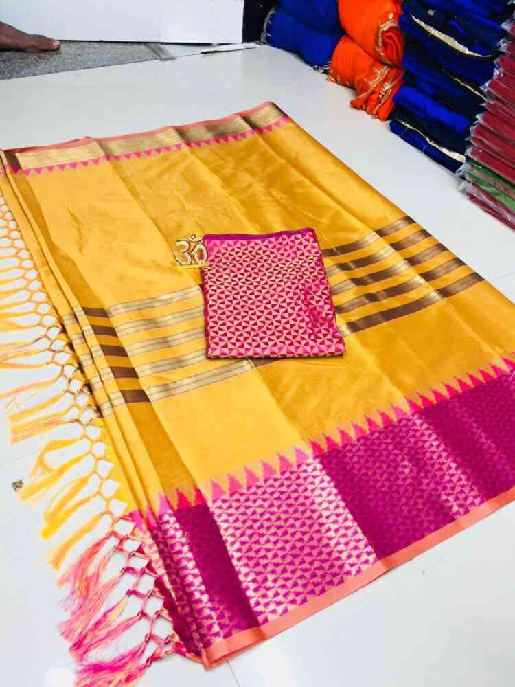 MF Banarasi Womens Jacquard Silk Zari Border Saree with Blouse Piece Yellow