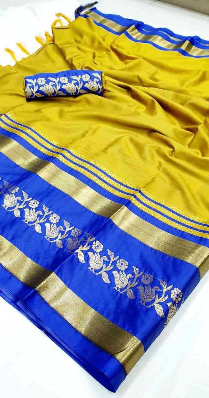 "Panchi-Yellow Jacquard Cotton Silk Saree With Designer Blouse  30"""