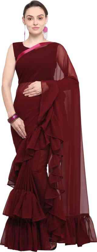 RAFAL BROWN Heavy Sattin Georgette Saree With Border Rafal