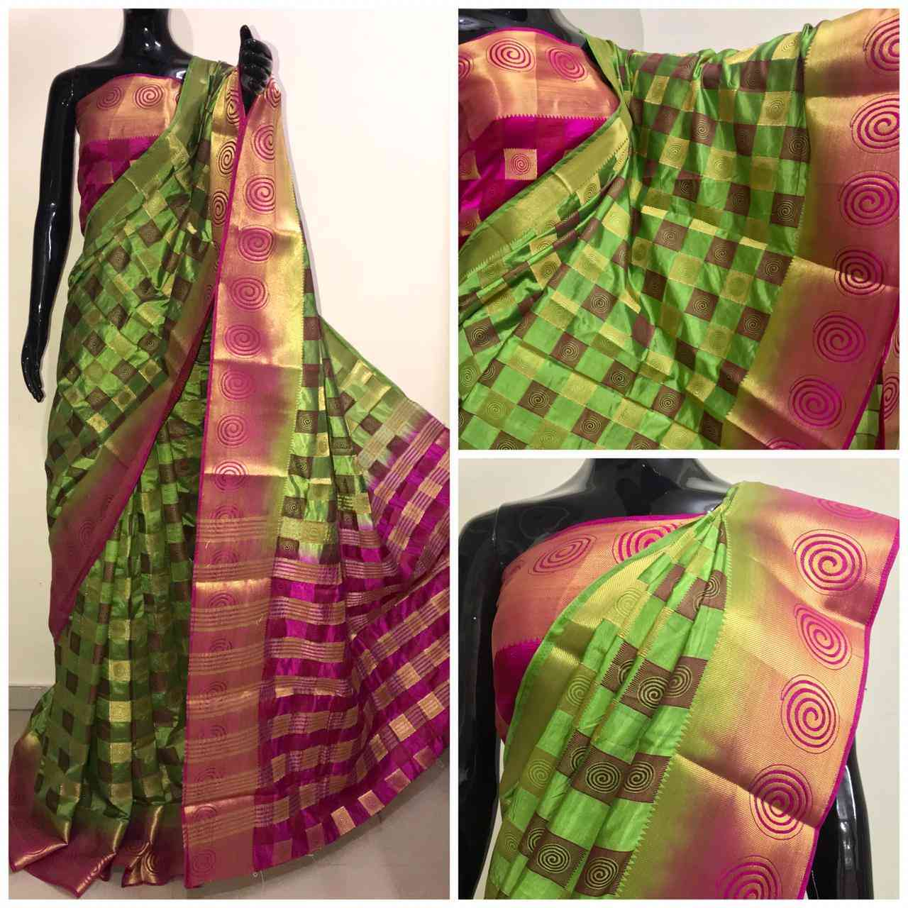 RS ZALEBI Kanjivaram Jacquard Border Sarees With Blouse