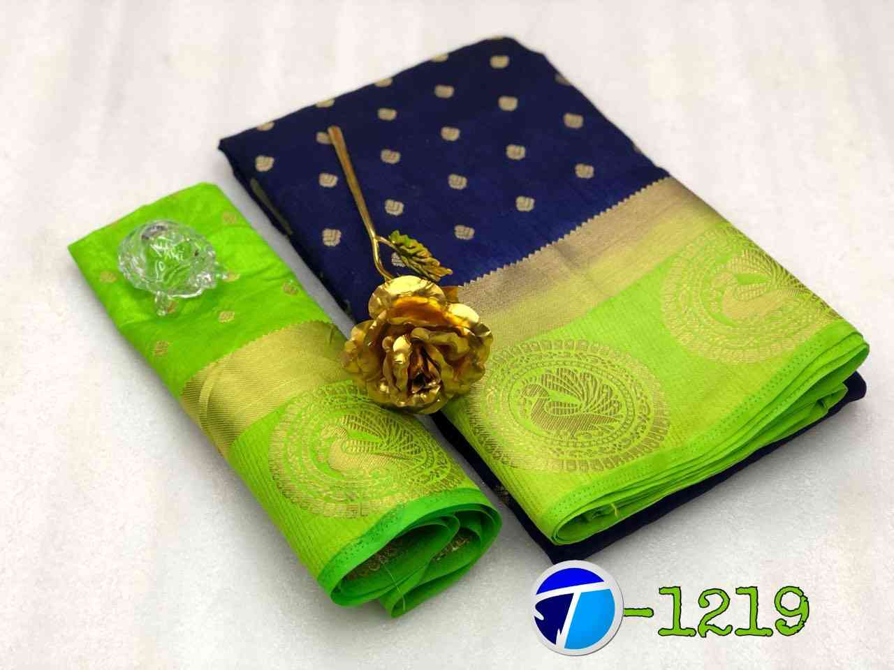 Green And Blue Heavy Partywear Style Banarasi Silk Sarees