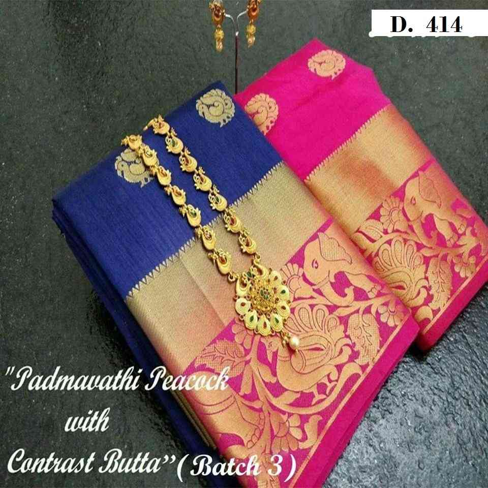 Blue And Pink Heavy Partywear Style Banarasi Silk Sarees