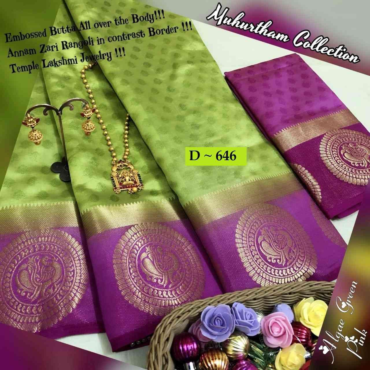 "Green Wedding wear Banarasi Silk Jaquard saree for womens  30"""