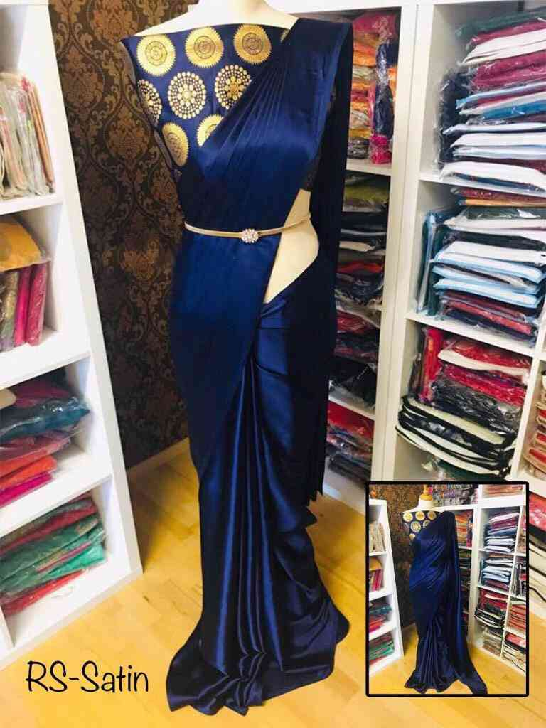 Royal Blue Satin Silk Embroidered Party wear Saree with blouse piece