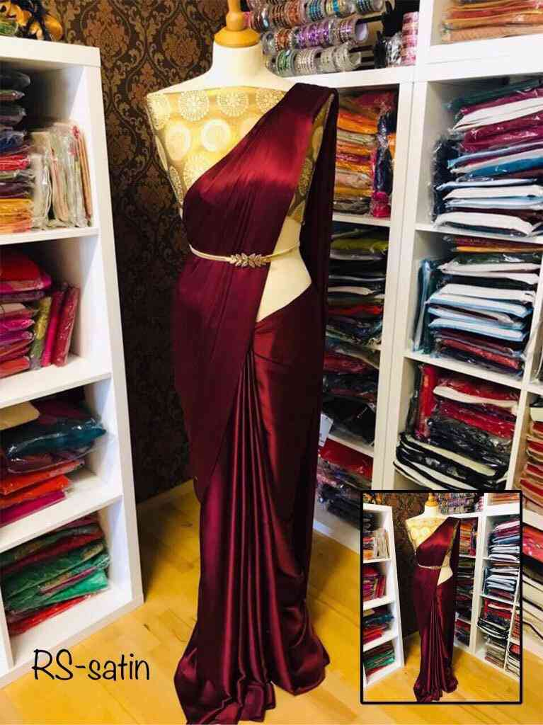 Wine Satin Silk Embroidered Party wear Saree with blouse piece