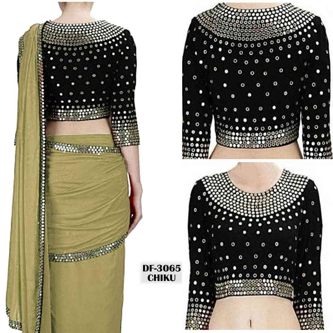 """Beige Georgette Heavy Sequence Embroidred Sarees SDH  30"""""""