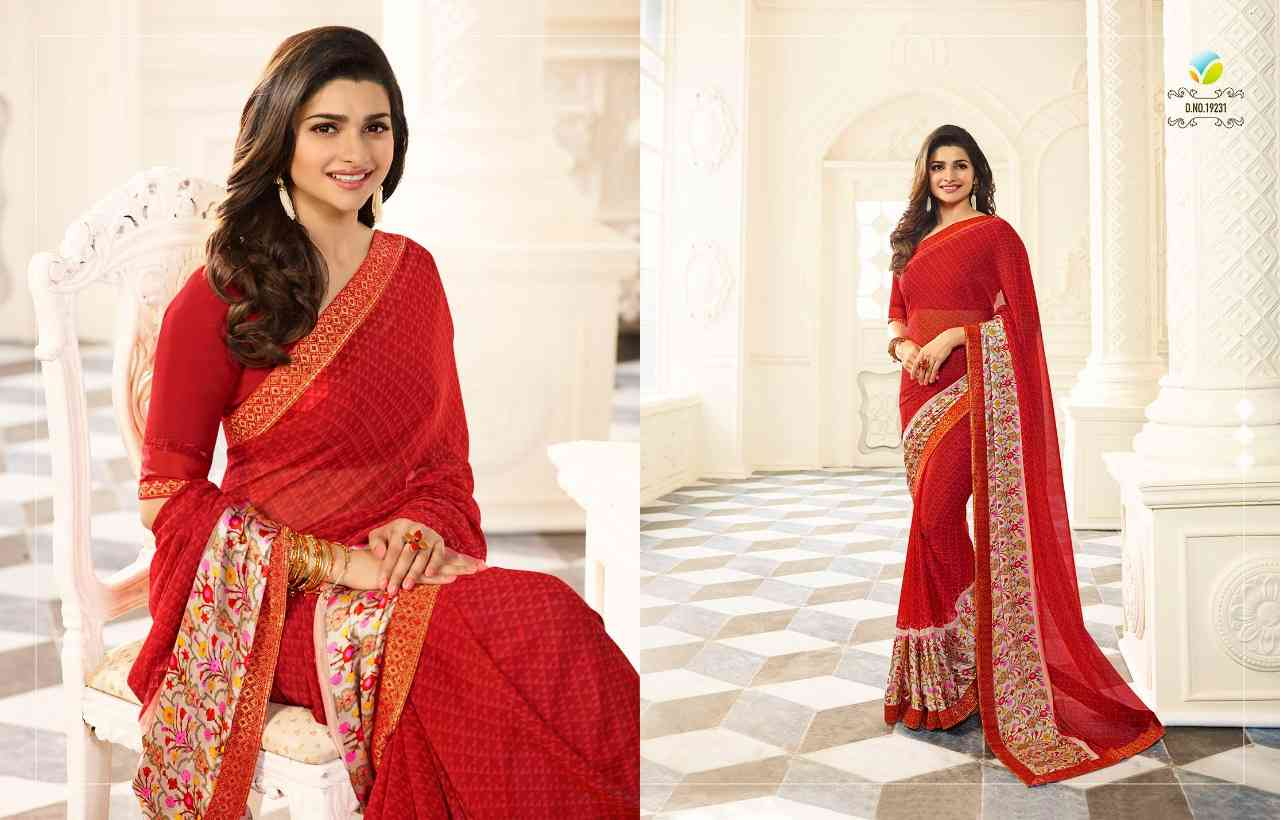 """MF Red Women's Georgette Saree With Jaquard Lace Border   30"""""""