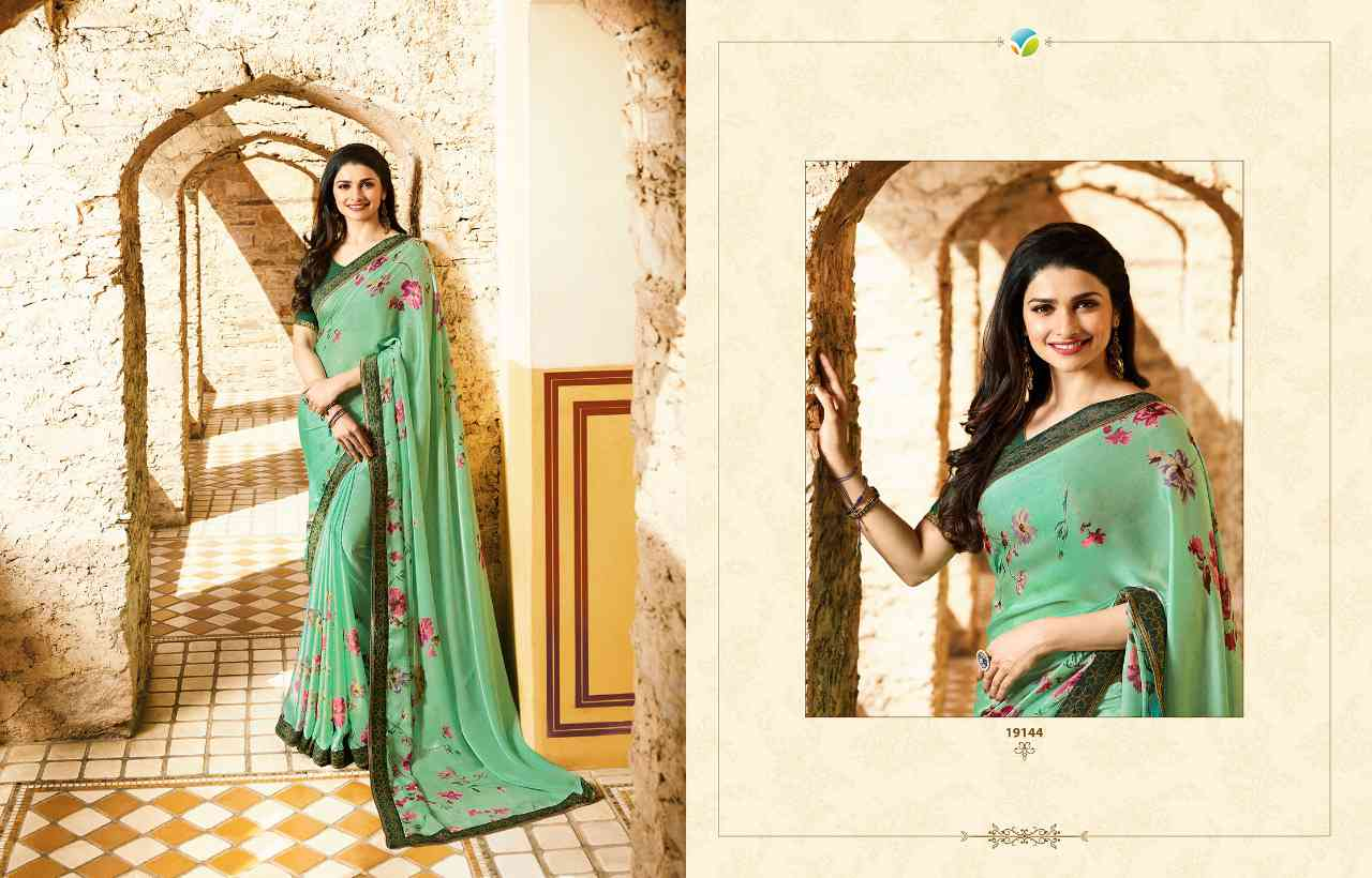 """MF Green Women's Georgette Saree With Jaquard Lace Border   30"""""""