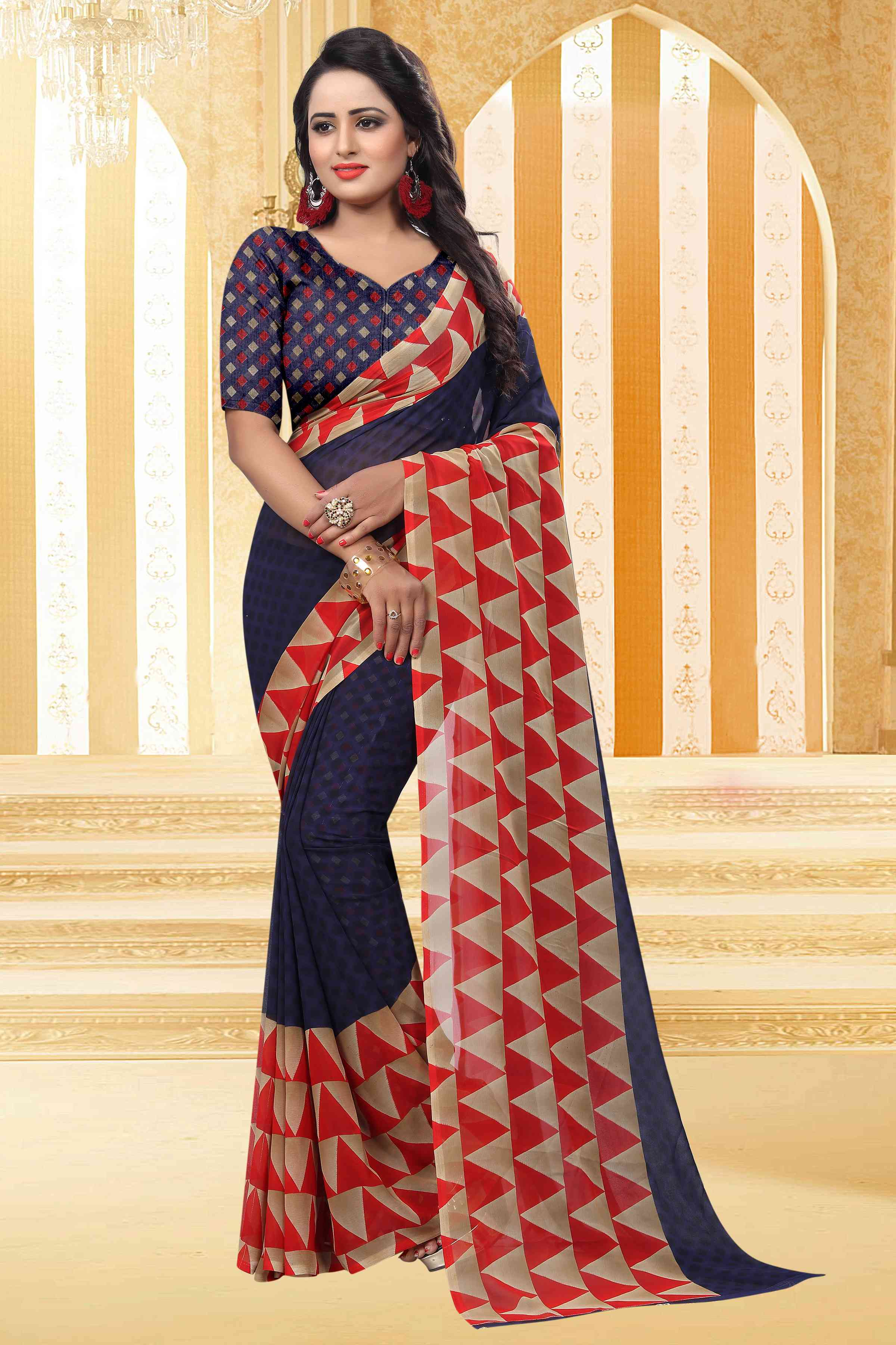 Triangle Navy Georgette Printed Sarees For Womens