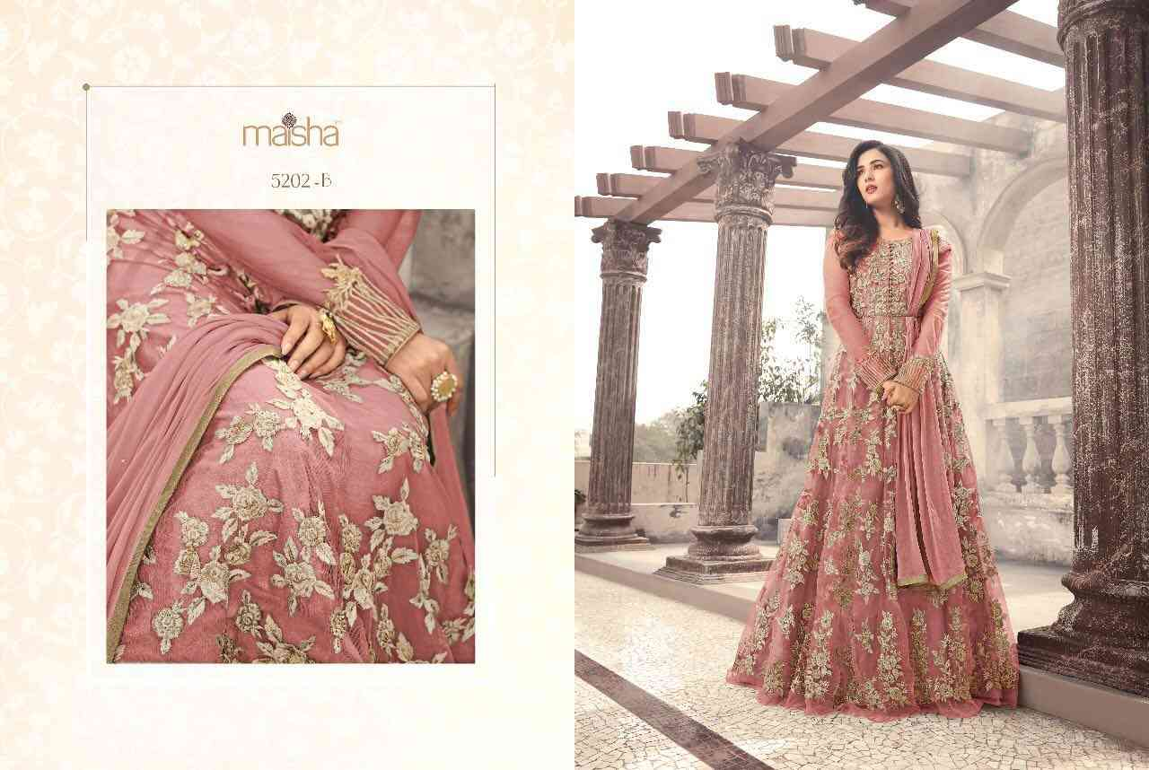 MF PEACH EMBROIDERED NET SALWAR SEMI STITCHED
