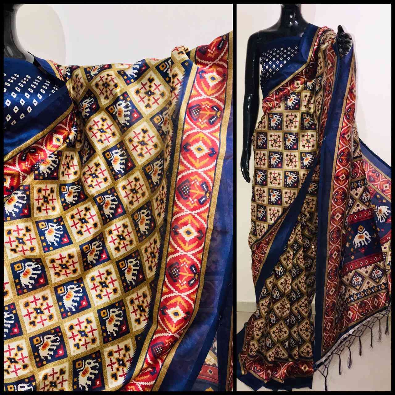 Blue Patola Kashamiri Printed Silk With Lehriya Saree For Womens