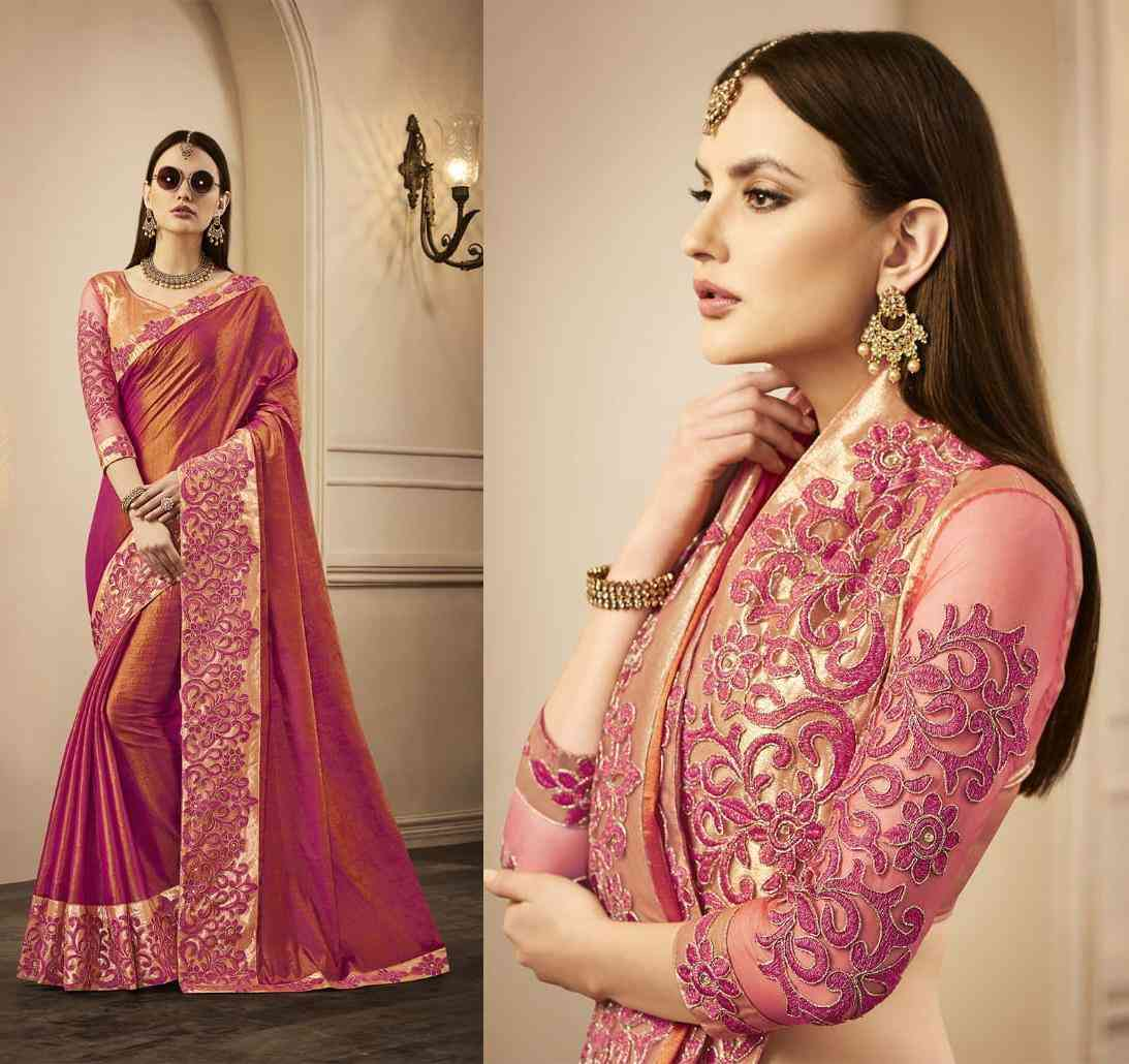 """Maroon Color Silk Saree With Traditional Zari Border Work And Unstitched Blouse Material  30"""""""