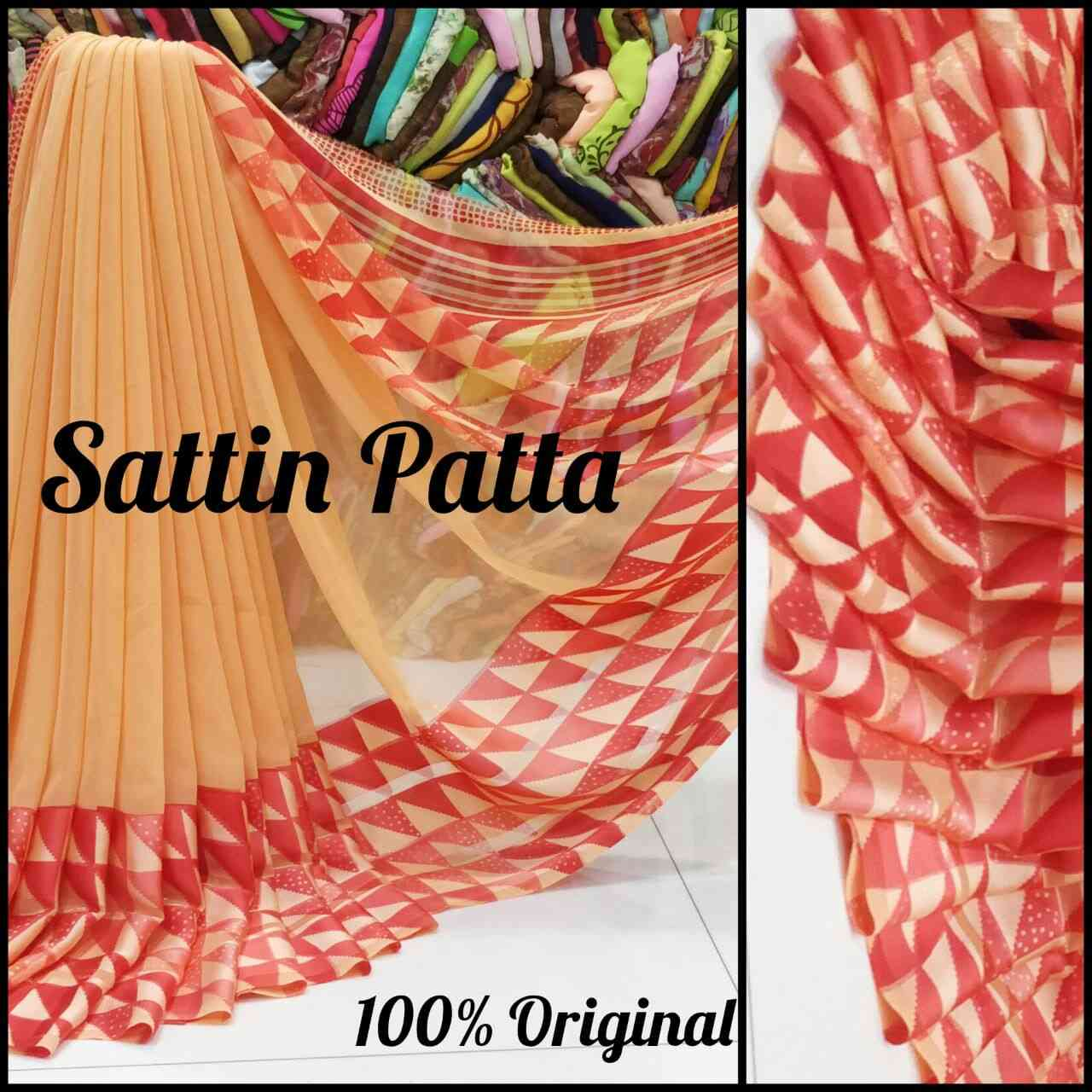 Orange Color Satin Printed Traditional Saree With Unstitched Blouse Material sattin patta 18  30""