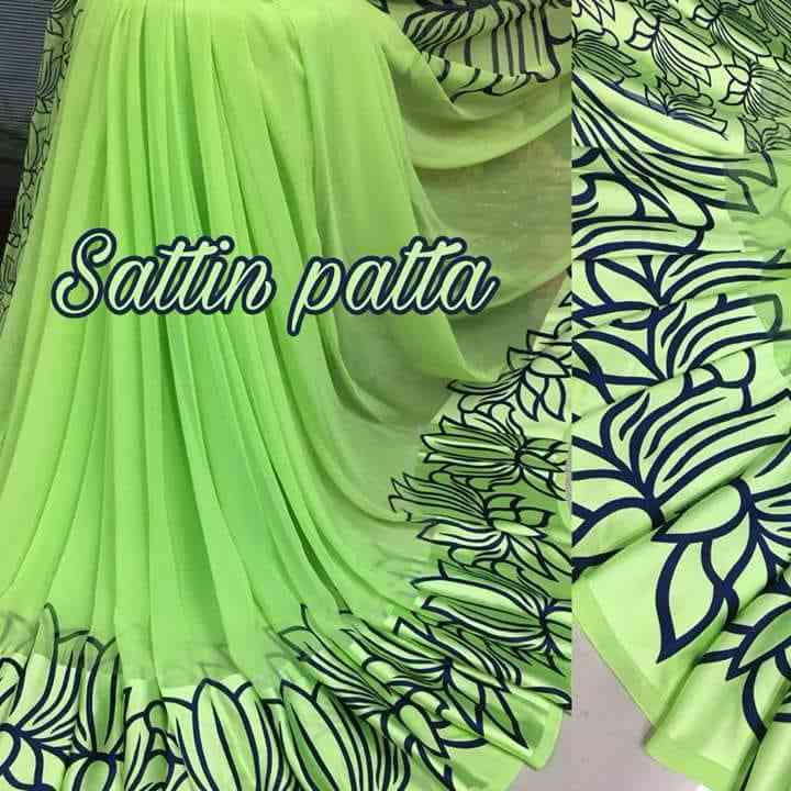 MF desiner Perrot n Blue border sattin patta saree  30""